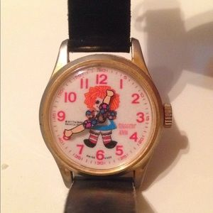 """Other - 🖐Vintage Raggedy Ann Watch 1971, 7"""" brown leather"""